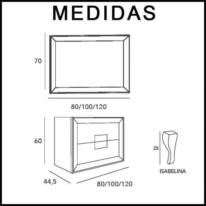 Medidas Mueble de Baño L-Gant Kuadrus 2C