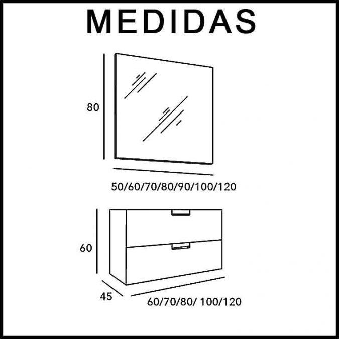 Medidas Mueble de Baño Suspendido Luna 2 Cajones