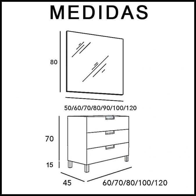 Medidas Mueble de Baño Luna 3 Cajones