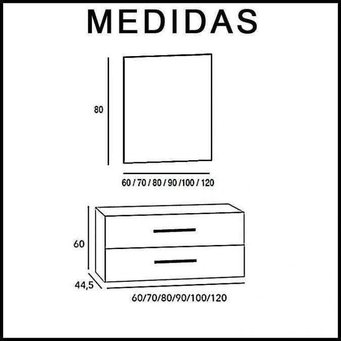 Medidas Mueble de Baño Neos 2C.