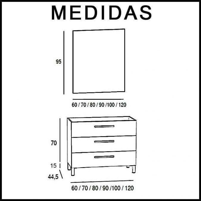 Medidas Mueble de Baño Neos 3C.