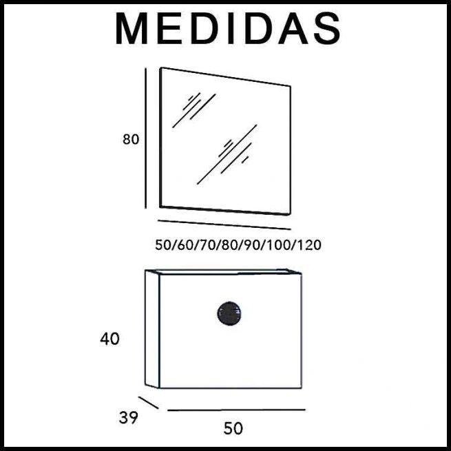 Medidas Mueble de Baño Piccolo 50 cm.