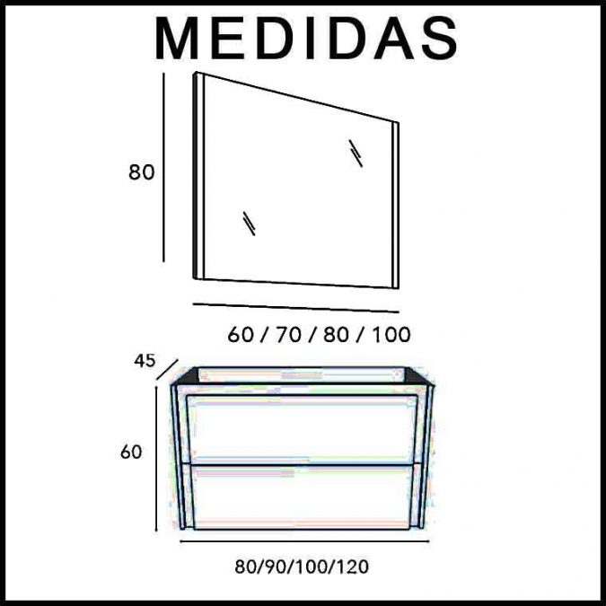 Medidas Mueble de Baño Tanit Espejo Mar