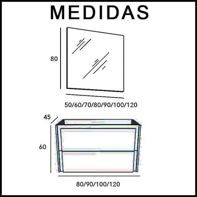 Medidas Mueble de Baño Tanit Espejo Recto