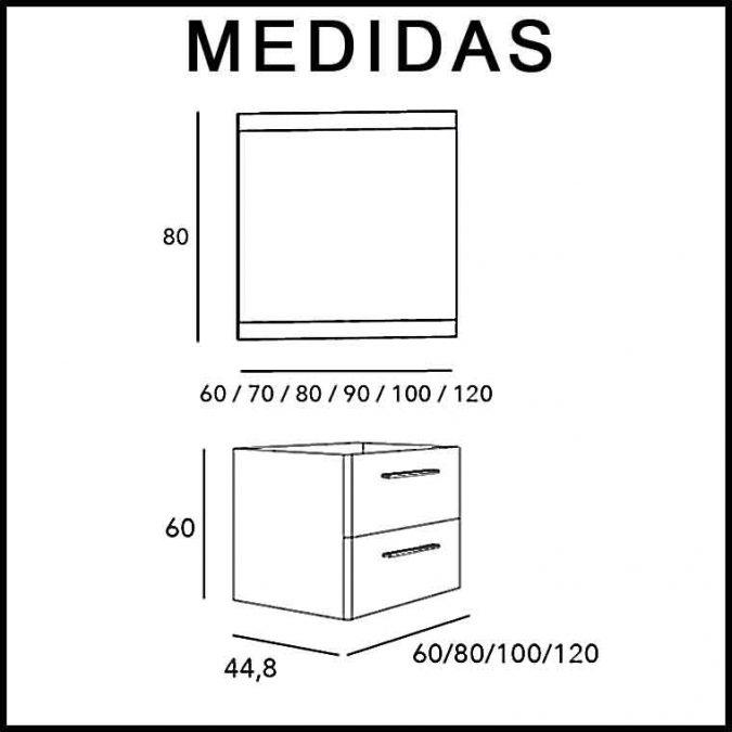 Medidas Mueble de Baño Tecia 2C