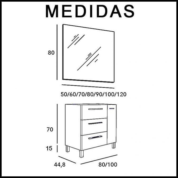 Medidas Mueble de Baño Tecia 3C 1P