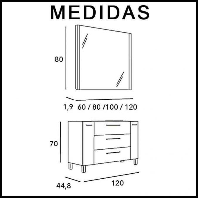 Medidas Mueble de Baño Tecia 3C 2P