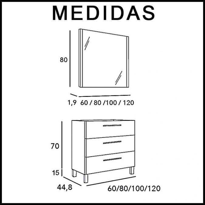 Medidas Mueble de Baño Tecia 3C