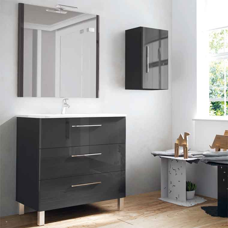 Mueble de ba o tecia 3c 100 cm mueble de la serie de ba o for Mueble alto para bano