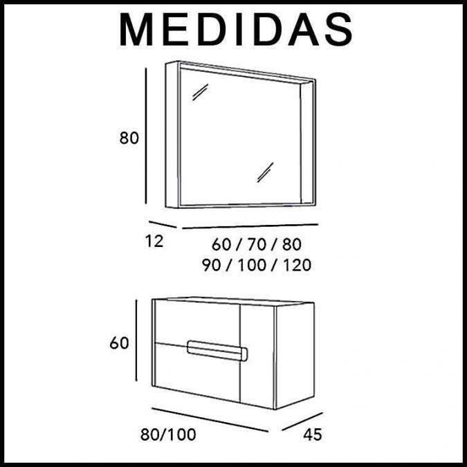 Medidas Mueble de Baño Thais 2C 1P