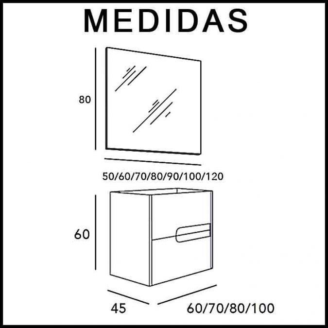 Medidas Mueble de Baño Thais 2C