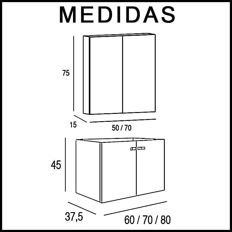 Medidas Mueble de Baño Vega Suspendido