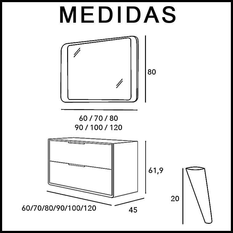 Mueble de ba o vintage 2c 90 cm con tapa ba os vintage o for Medidas antropometricas para discapacitados
