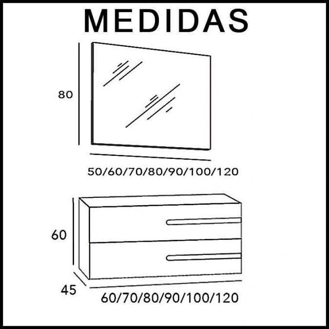 Medidas Mueble de Baño Zeus 2C