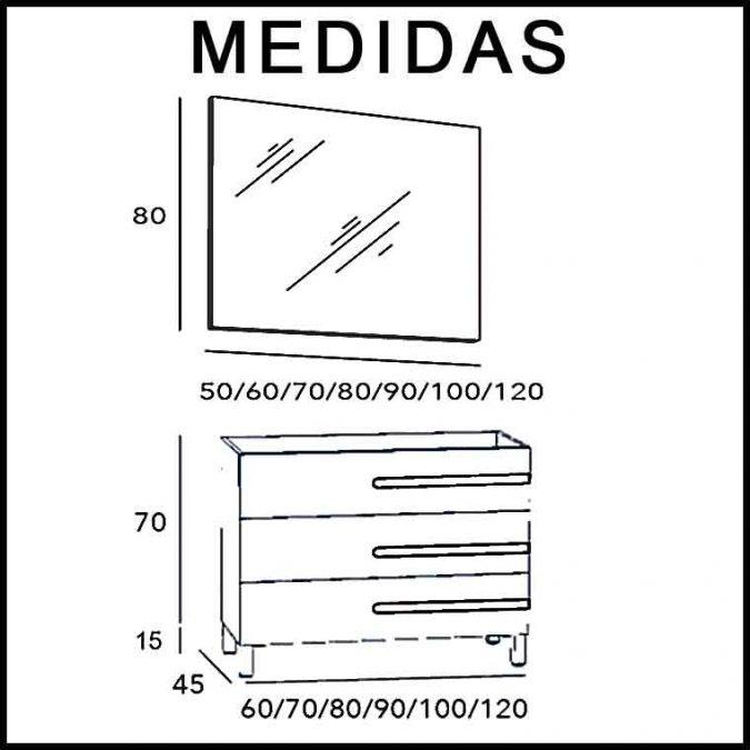 Medidas Mueble de Baño Zeus 3C