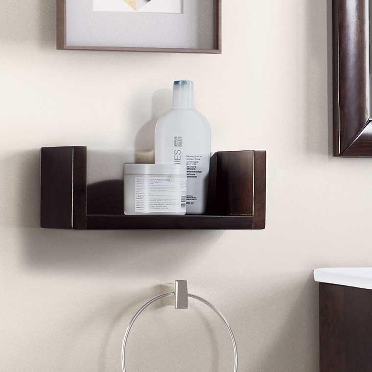 Repisa fabricada en madera for Catalogo accesorios bano