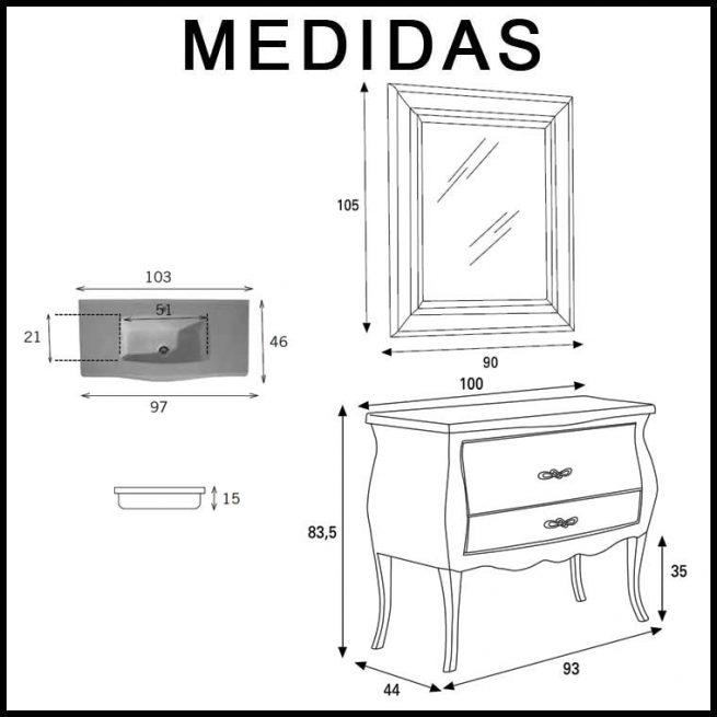 Medidas Mueble de Baño Victoria 04 de 100 cm. de Verrochio