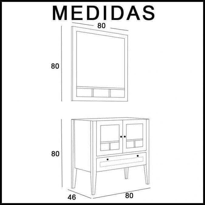 Medidas Mueble de Baño Eco 80 cm.