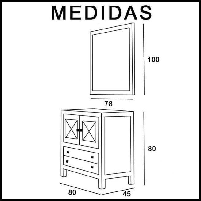 Medidas Mueble de Baño Kin 80 cm.