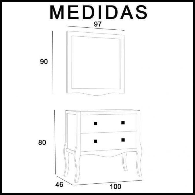 Medidas Mueble de Baño Lago 100 cm.