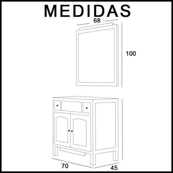 Medidas Mueble de Baño Zuri 70 cm.