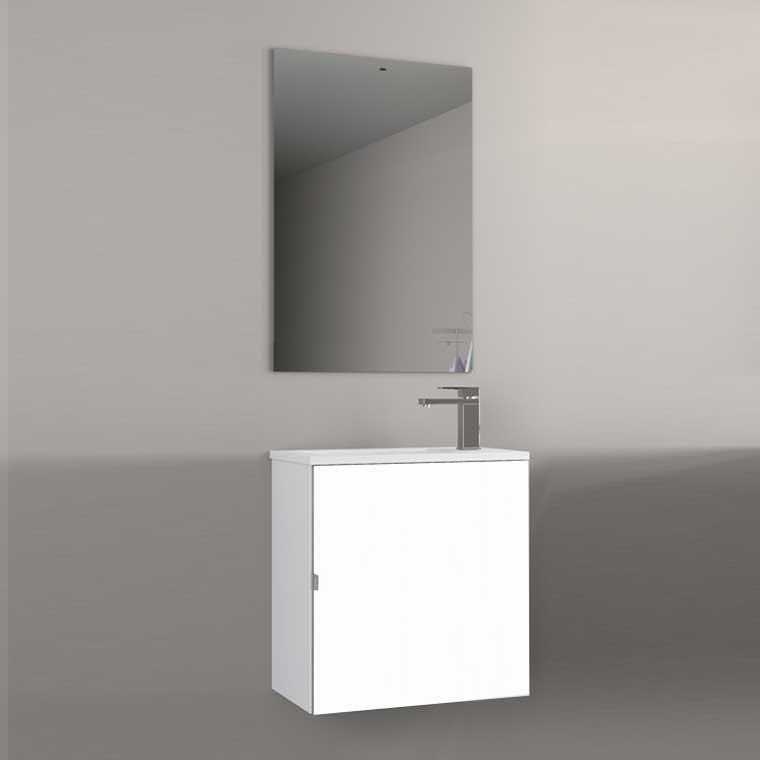 Mueble de Baño Petit 50 cm. 1 Puerta. Frente Lacado Blanco