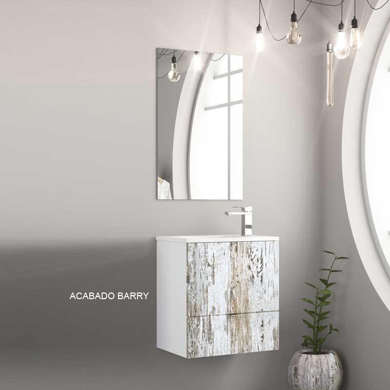 Mueble de Baño Petit 50 cm. Puerta y Cajón. Frente Laminado Barry