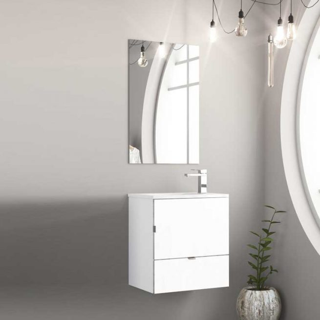 Mueble de Baño Petit 50 cm. Puerta y Cajón. Frente Lacado Blanco