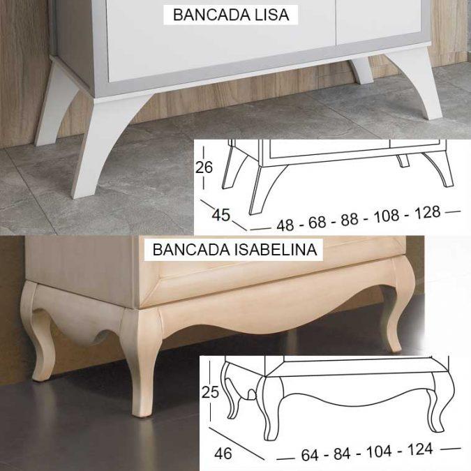 Bancada Lisa y Bancada Isabelina para Muebles de Baño