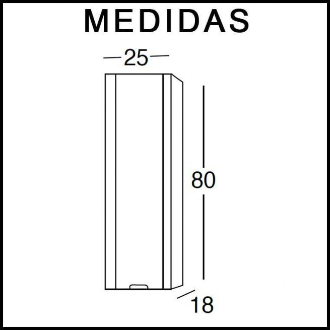 Medidas Mueble Auxiliar Baño de Colgar Alicia 80 cm.