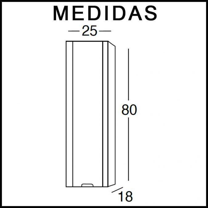 Medidas Mueble Auxiliar Baño de Colgar Cristina 80 cm.