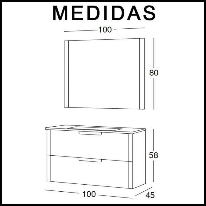 Medidas Mueble de Baño Alicia 100 cm.