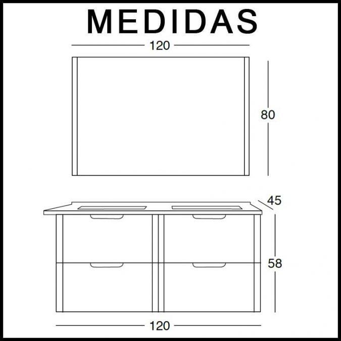Medidas Mueble de Baño Alicia 120 cm.