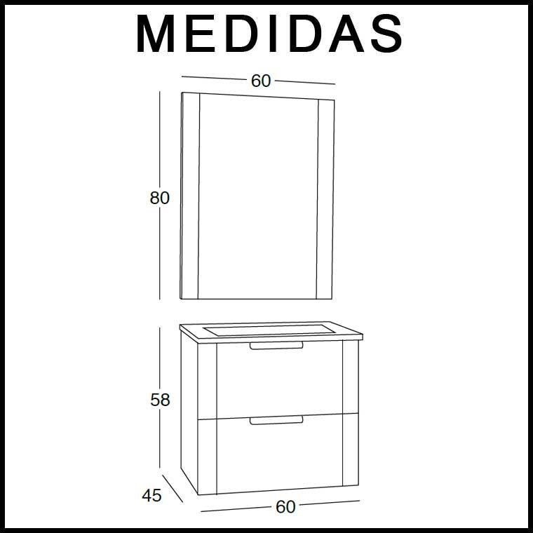 Medidas Mueble de Baño Alicia 60 cm.