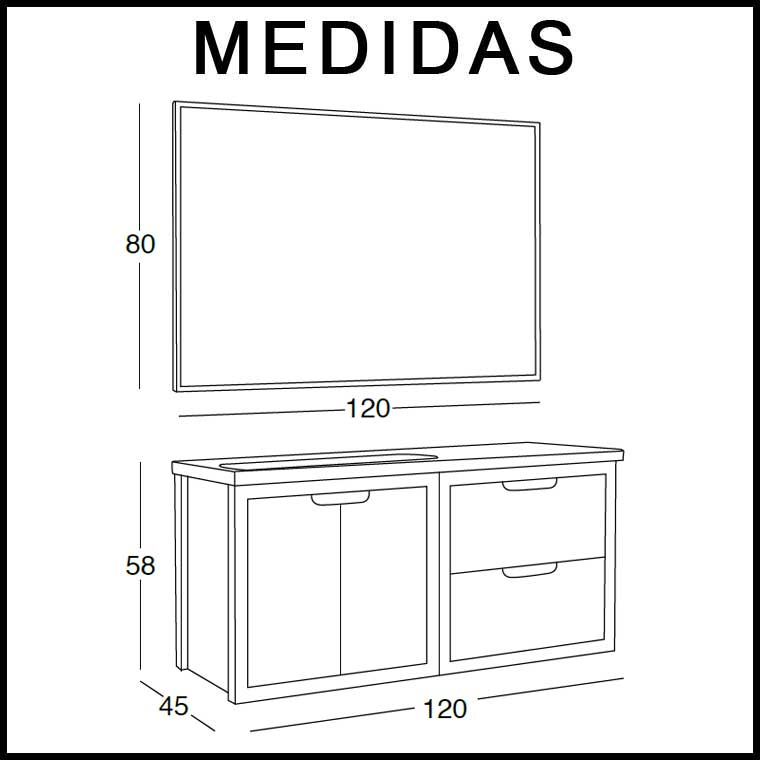 Medidas Mueble de Baño Ángeles 120 cm.