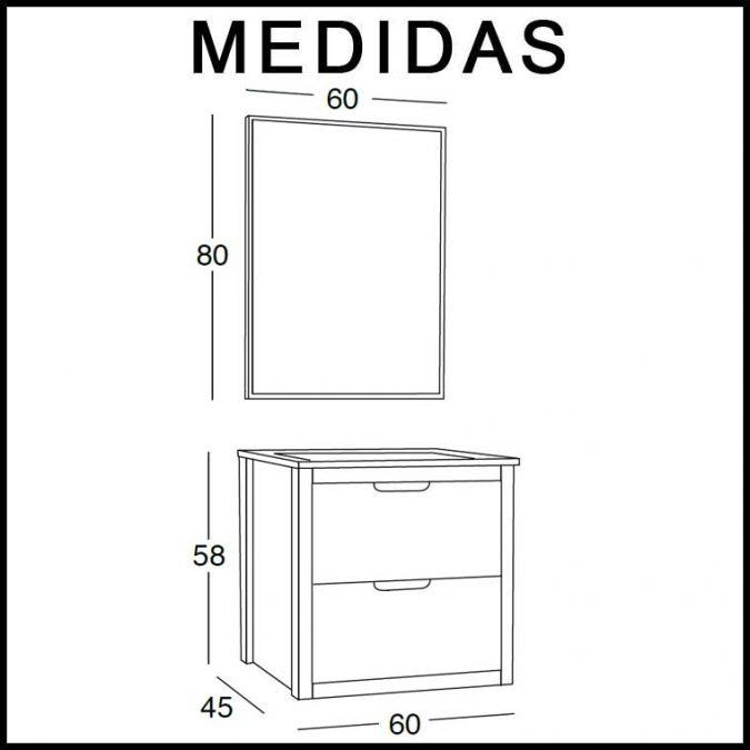 Medidas Mueble de Baño Ángeles 60 cm.