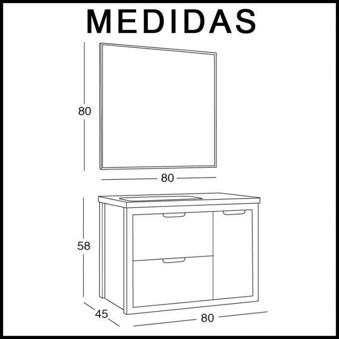Medidas Mueble de Baño Ángeles 80 cm.