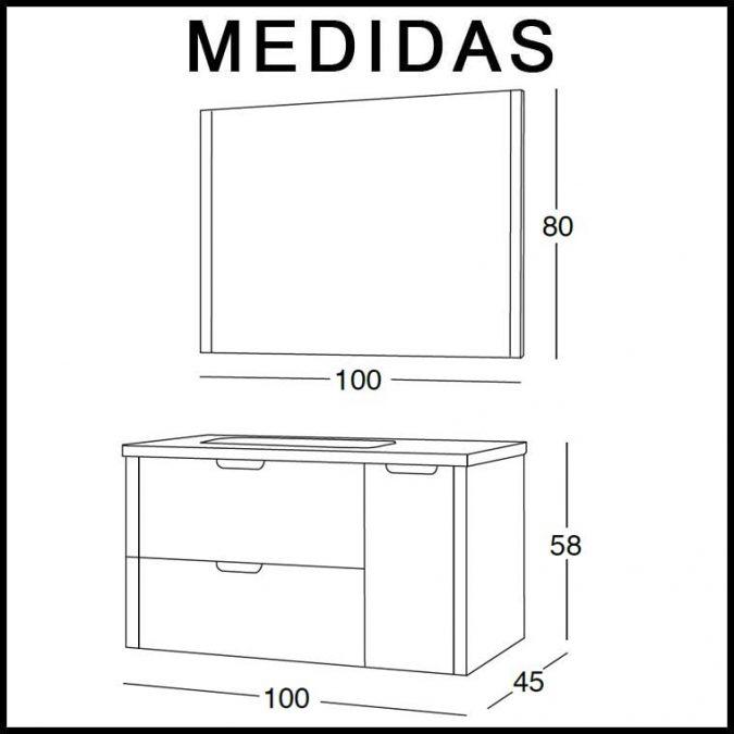 Medidas Mueble de Baño Cristina 100 cm.