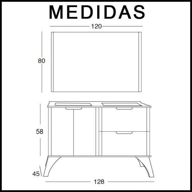 Medidas Mueble de Baño Cristina 120 cm.
