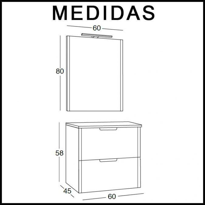 Medidas Mueble de Baño Cristina 60 cm.