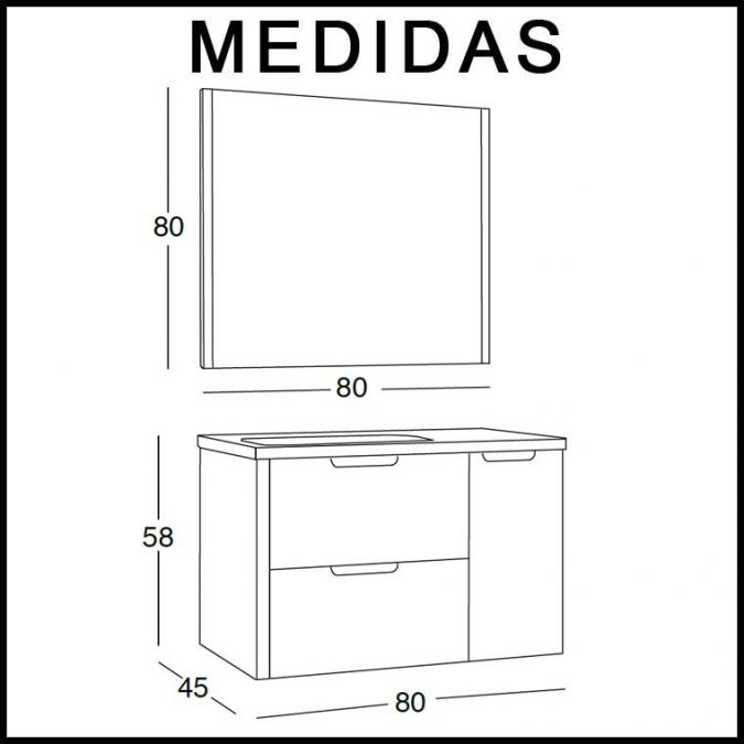 Medidas Mueble de Baño Cristina 80 cm.