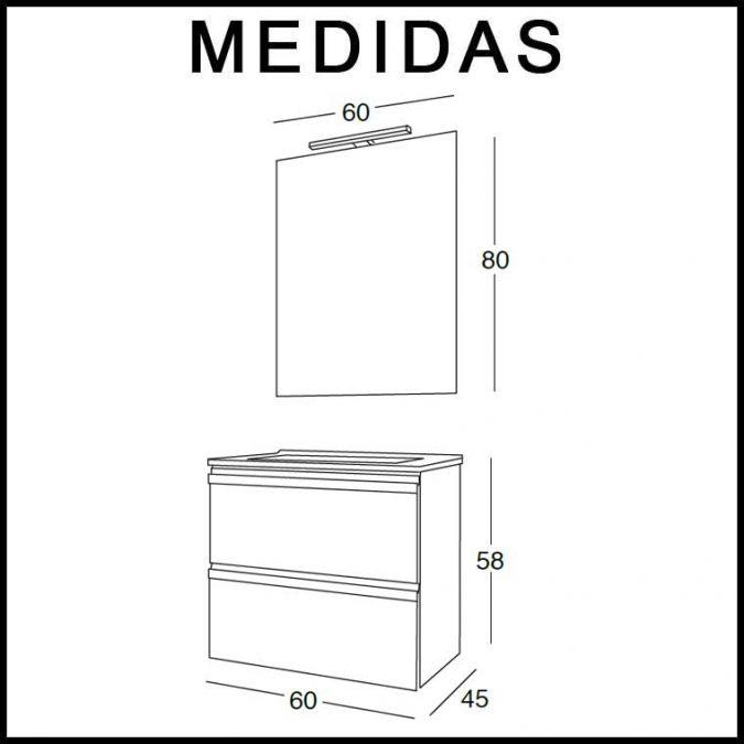 Medidas Mueble de Baño Lorena 60 cm.