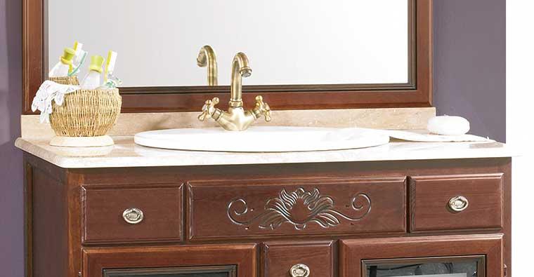 Muebles Baño con Encimera Mármol Marfil Compás