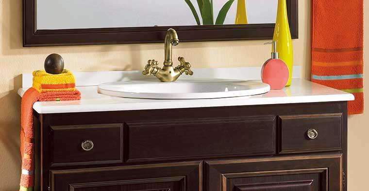 Muebles Baño con Encimera Mármol Blanco Compás