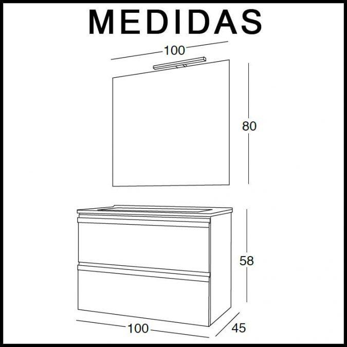 Medidas Mueble de Baño Lorena 100 cm.
