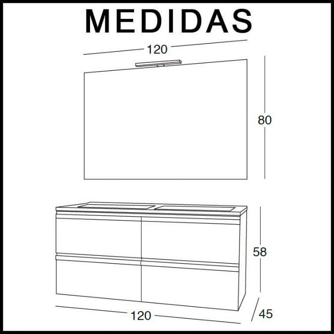 Medidas Mueble de Baño Lorena 120 cm.