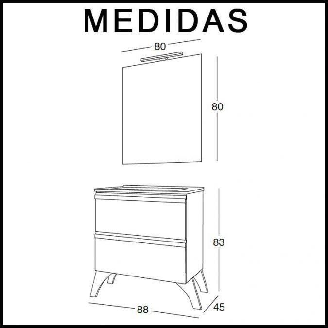 Medidas Mueble de Baño Lorena 80 cm.
