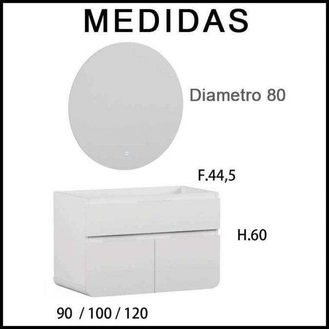 Medidas Mueble de Baño Lusso 90 cm.