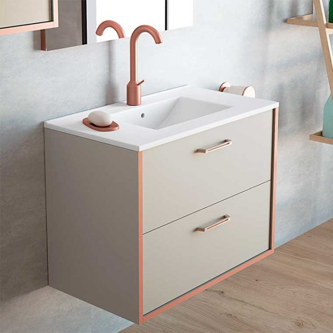 Mueble de Baño Lusso con espejo Recto. Detalle