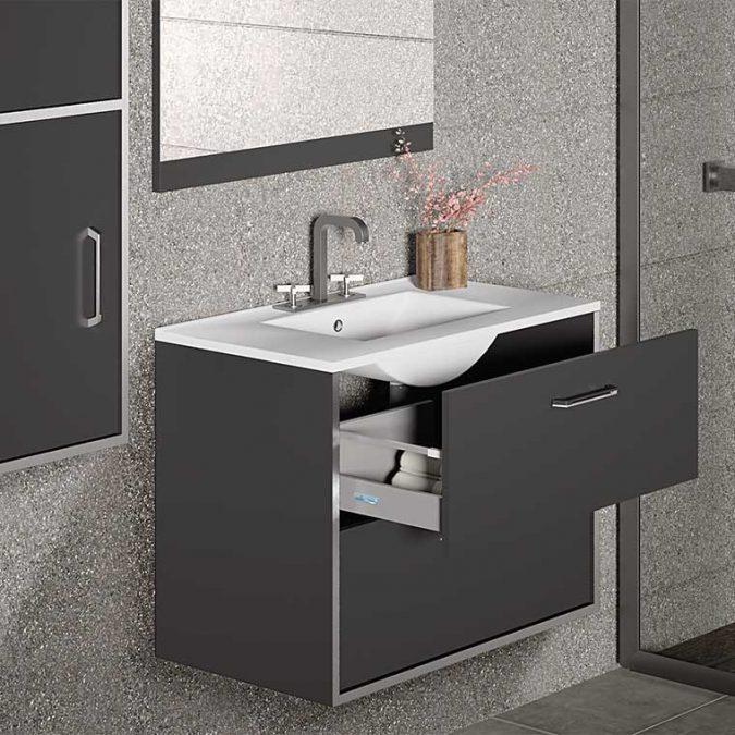 Mueble de Baño Lusso con espejo Cue. Detalle